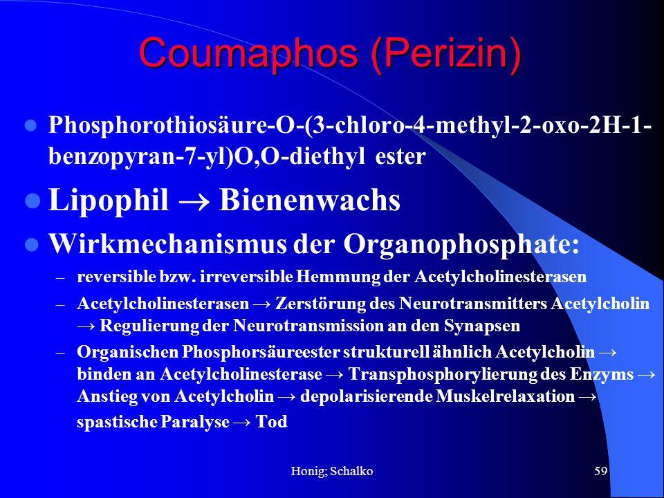 Honig; Schalko59 Phosphorothiosäure-O-(3-chloro-4-methyl-2-oxo-2H-1- benzopyran-7-yl)O,O-diethyl ester Lipophil Bienenwachs Wirkmechanismus der Organo