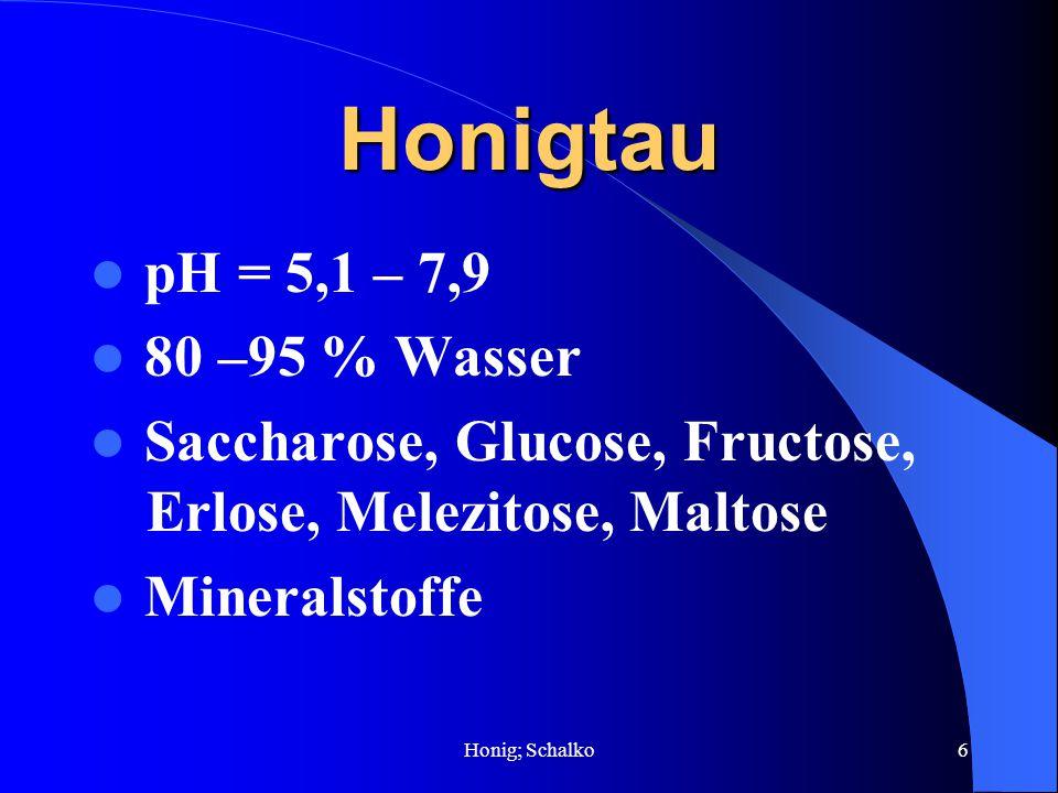 Honig; Schalko6 Honigtau pH = 5,1 – 7,9 80 –95 % Wasser Saccharose, Glucose, Fructose, Erlose, Melezitose, Maltose Mineralstoffe