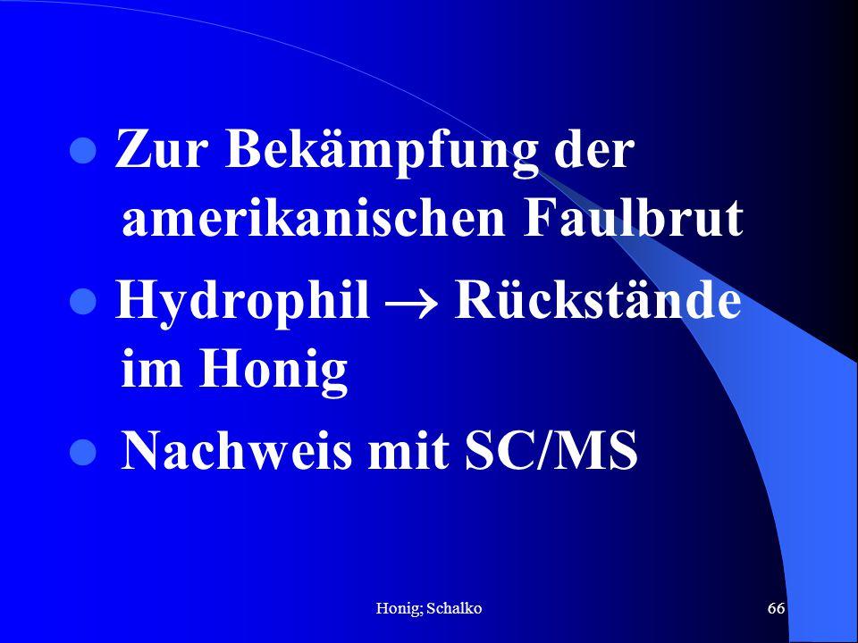 Honig; Schalko66 Zur Bekämpfung der amerikanischen Faulbrut Hydrophil Rückstände im Honig Nachweis mit SC/MS