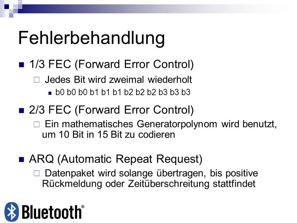 Fehlerbehandlung 1/3 FEC (Forward Error Control) Jedes Bit wird zweimal wiederholt b0 b0 b0 b1 b1 b1 b2 b2 b2 b3 b3 b3 2/3 FEC (Forward Error Control)