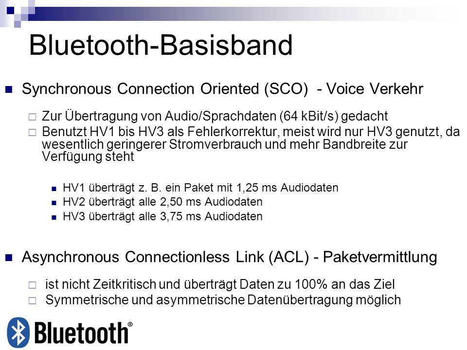 Bluetooth-Basisband Synchronous Connection Oriented (SCO) - Voice Verkehr Zur Übertragung von Audio/Sprachdaten (64 kBit/s) gedacht Benutzt HV1 bis HV