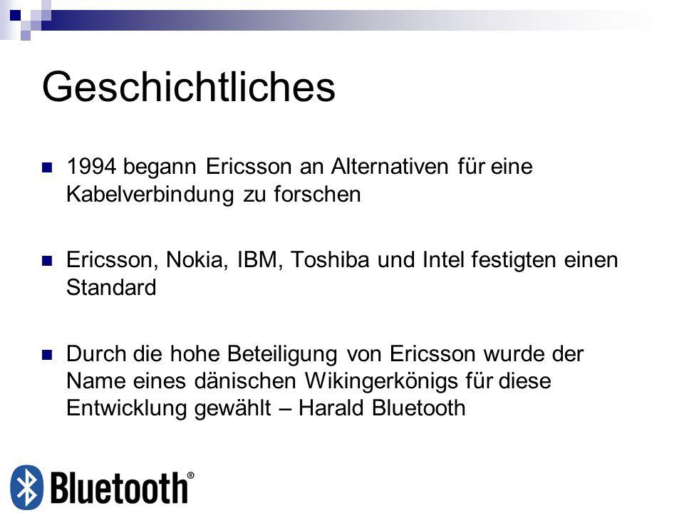 Geschichtliches 1994 begann Ericsson an Alternativen für eine Kabelverbindung zu forschen Ericsson, Nokia, IBM, Toshiba und Intel festigten einen Stan