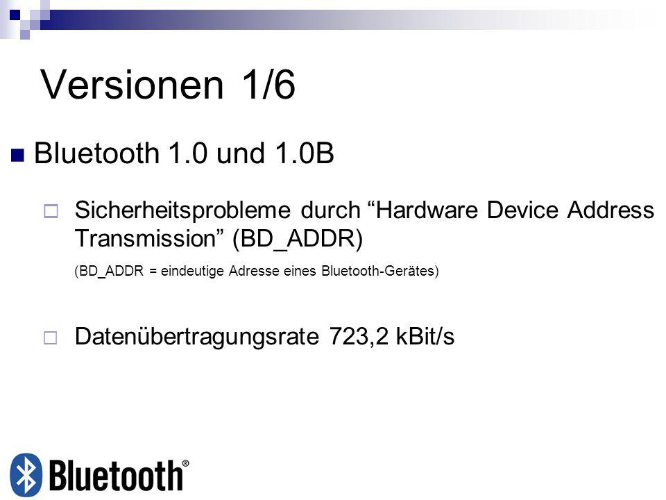 Aufbau Datenpaket Bluetooth 1.0 bis Bluetooth 1.2 72-Bit-Zugriffscode (Präambel,Synchronisation,Anhang) 54-Bit-Header Nutzdatenfeld 0 – 2745 Bit Pakettyp DH5 Bluetooth 2.0 + EDR 72-Bit-Zugriffscode (Präambel,Synchronisation,Anhang) 54-Bit-Header Nutzdatenfeld 0 – 8168 Bit Pakettyp 3-DH5