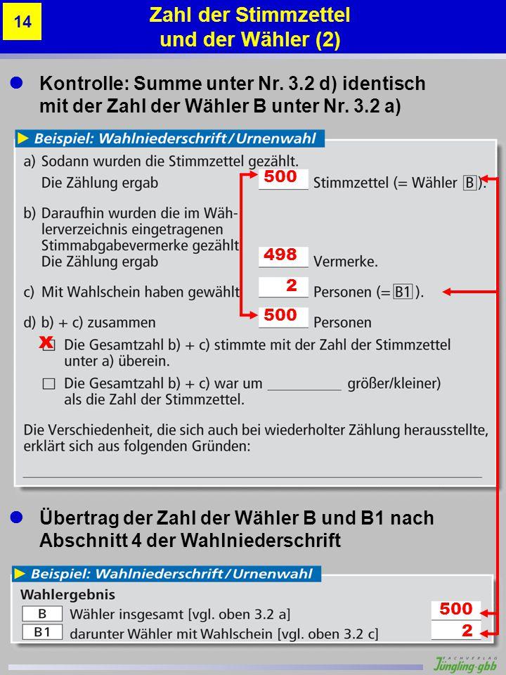 Kontrolle: Summe unter Nr. 3.2 d) identisch mit der Zahl der Wähler B unter Nr. 3.2 a) Übertrag der Zahl der Wähler B und B1 nach Abschnitt 4 der Wahl