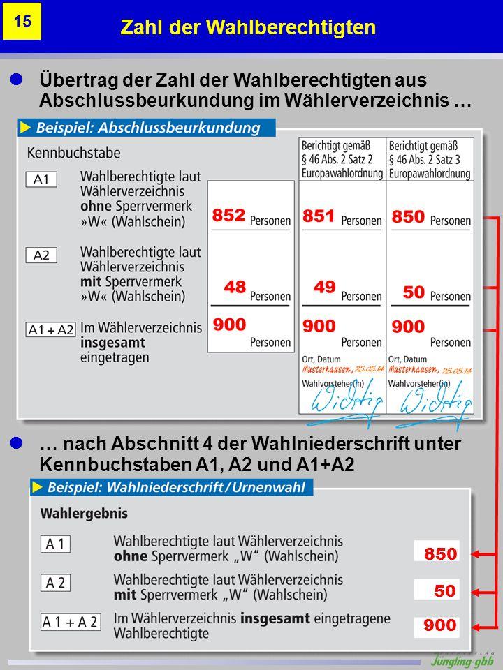 Übertrag der Zahl der Wahlberechtigten aus Abschlussbeurkundung im Wählerverzeichnis … … nach Abschnitt 4 der Wahlniederschrift unter Kennbuchstaben A