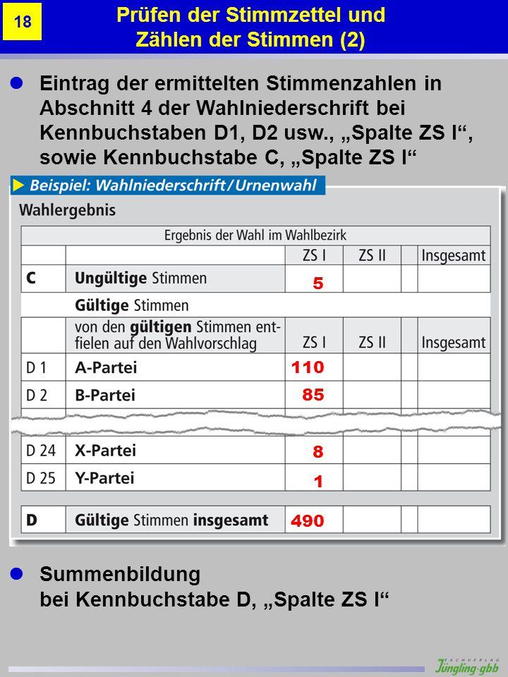 Eintrag der ermittelten Stimmenzahlen in Abschnitt 4 der Wahlniederschrift bei Kennbuchstaben D1, D2 usw., Spalte ZS I, sowie Kennbuchstabe C, Spalte