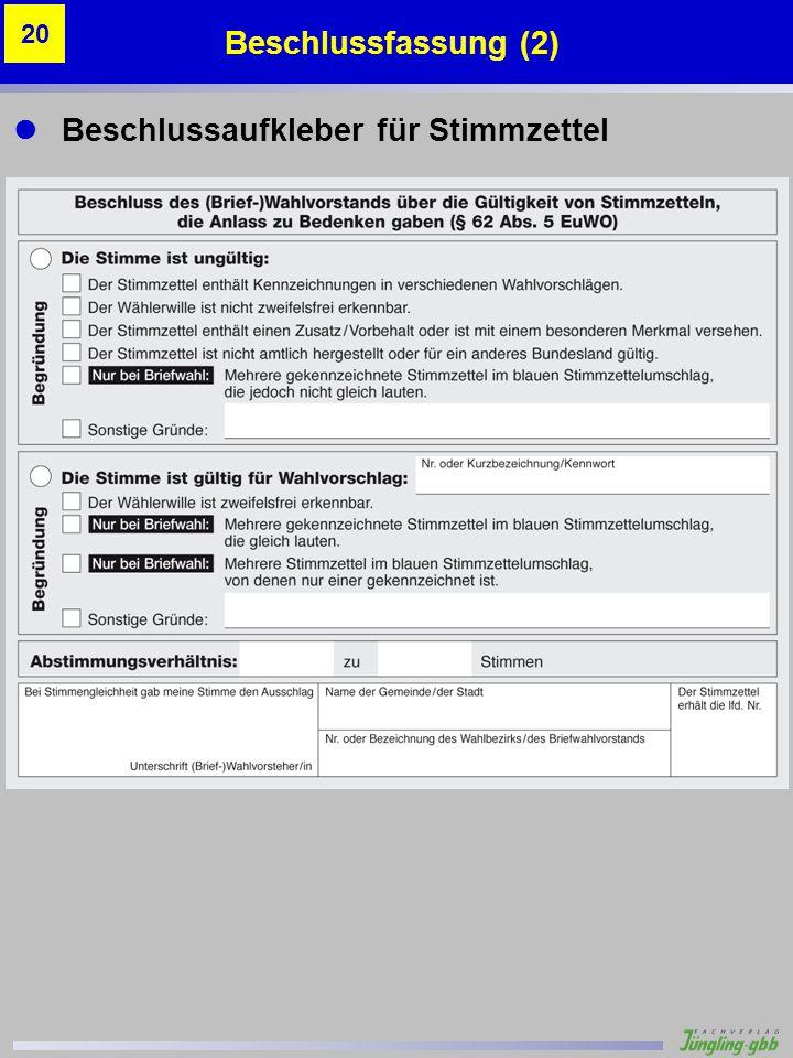 Beschlussaufkleber für Stimmzettel Beschlussfassung (2) 20