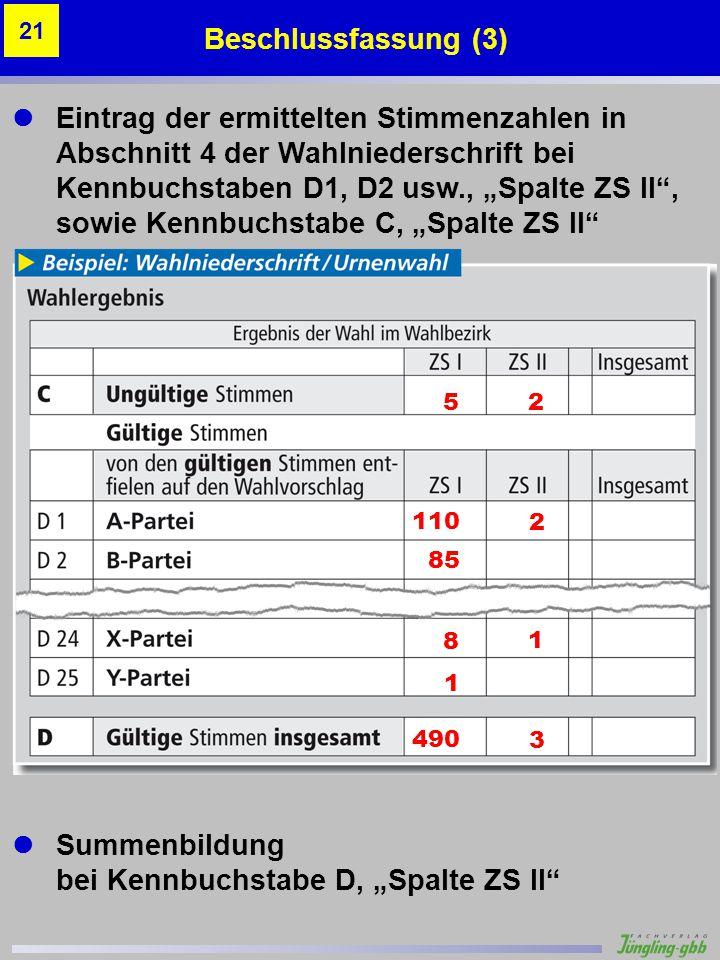 Eintrag der ermittelten Stimmenzahlen in Abschnitt 4 der Wahlniederschrift bei Kennbuchstaben D1, D2 usw., Spalte ZS II, sowie Kennbuchstabe C, Spalte