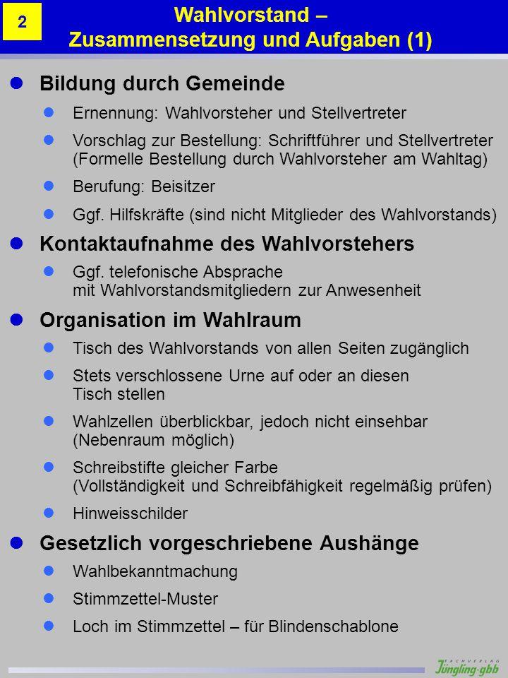 Bildung durch Gemeinde Ernennung: Wahlvorsteher und Stellvertreter Vorschlag zur Bestellung: Schriftführer und Stellvertreter (Formelle Bestellung dur