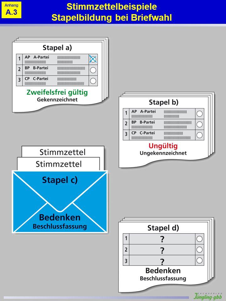 Stimmzettelbeispiele Stapelbildung bei Briefwahl Anhang A.3
