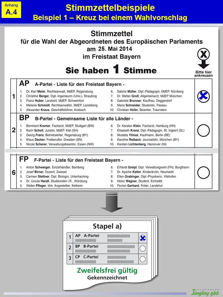 Stimmzettelbeispiele Beispiel 1 – Kreuz bei einem Wahlvorschlag Anhang A.4