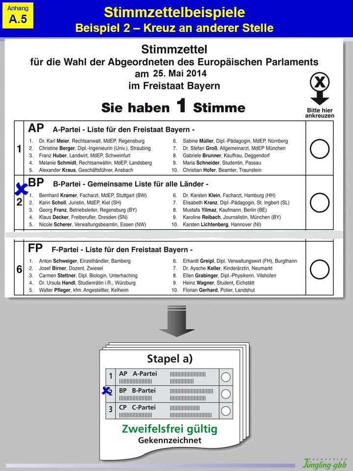 Stimmzettelbeispiele Beispiel 2 – Kreuz an anderer Stelle Anhang A.5