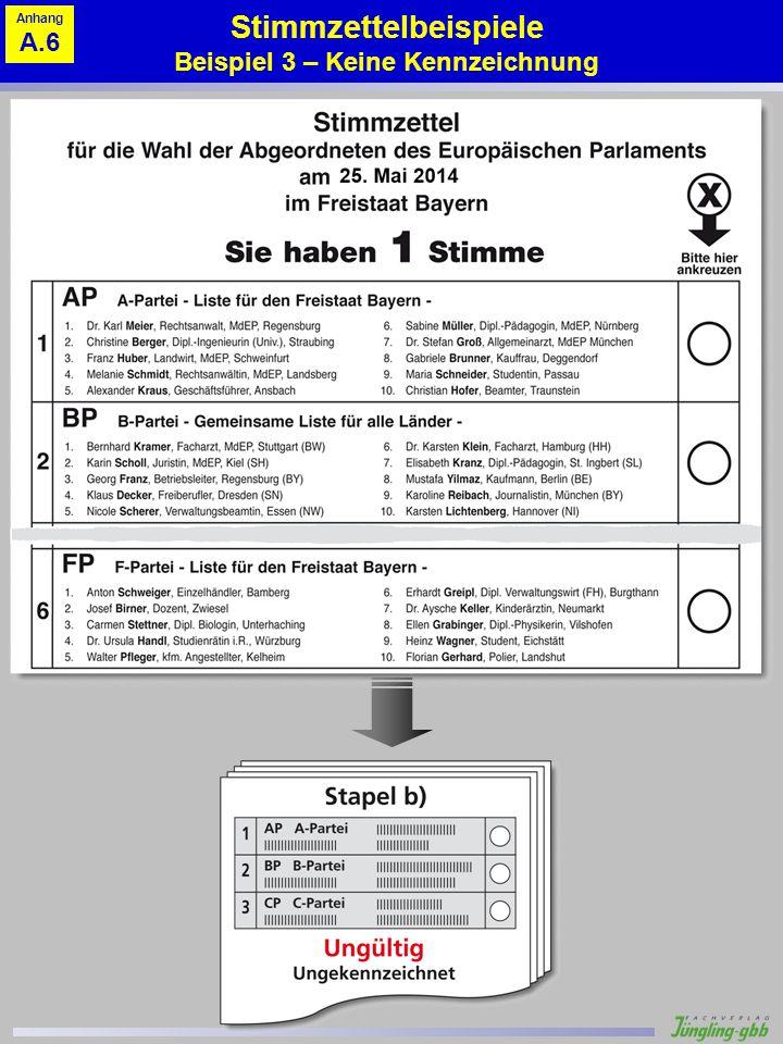 Stimmzettelbeispiele Beispiel 3 – Keine Kennzeichnung Anhang A.6