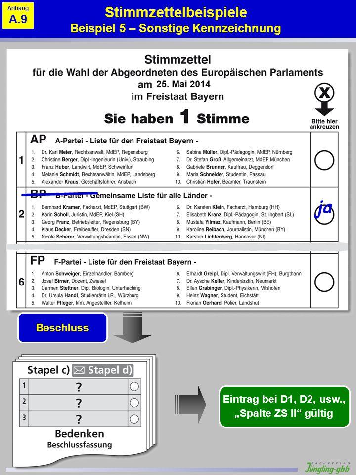 Stimmzettelbeispiele Beispiel 5 – Sonstige Kennzeichnung ja Beschluss Eintrag bei D1, D2, usw., Spalte ZS II gültig Anhang A.9