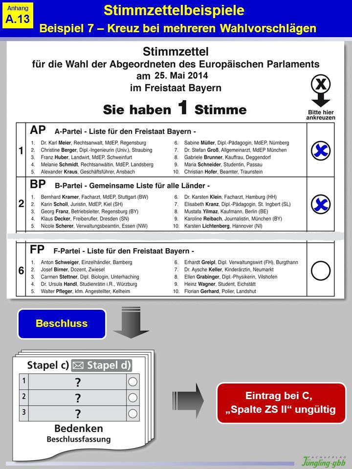 Stimmzettelbeispiele Beispiel 7 – Kreuz bei mehreren Wahlvorschlägen Beschluss Eintrag bei C, Spalte ZS II ungültig Anhang A.13