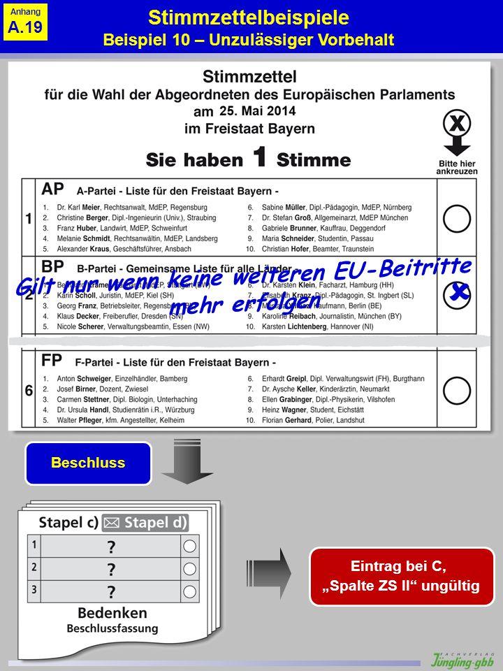 Stimmzettelbeispiele Beispiel 10 – Unzulässiger Vorbehalt Gilt nur wenn keine weiteren EU-Beitritte mehr erfolgen Beschluss Eintrag bei C, Spalte ZS I
