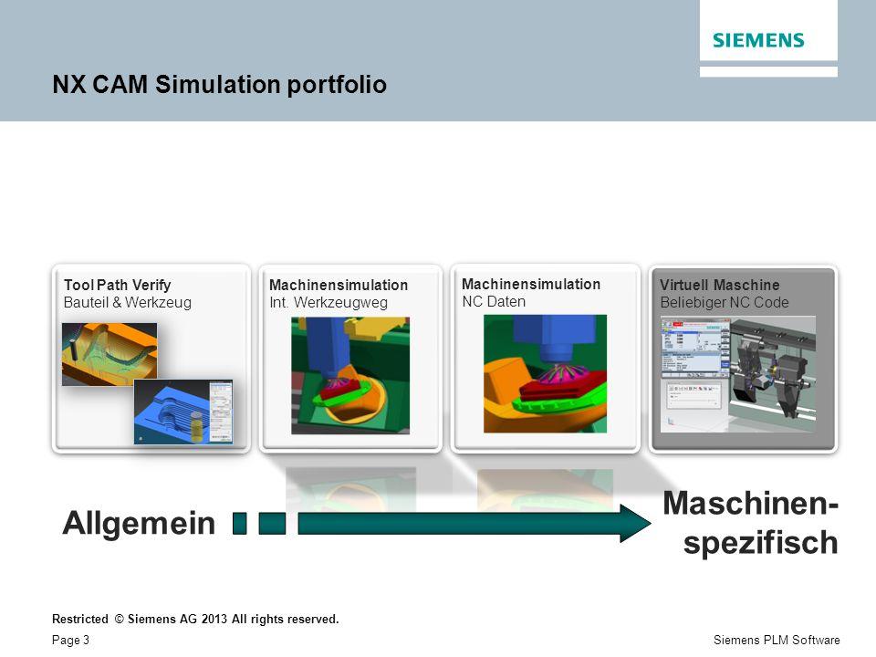 Restricted © Siemens AG 2013 All rights reserved. Page 3Siemens PLM Software NX CAM Simulation portfolio Allgemein Virtuell Maschine Beliebiger NC Cod