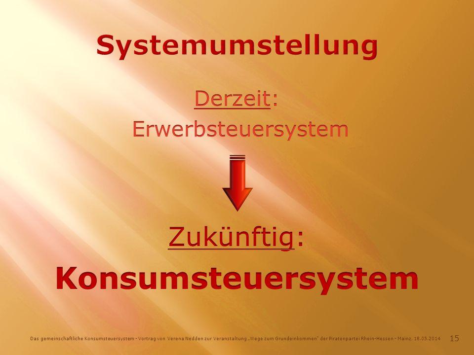 Das gemeinschaftliche Konsumsteuersystem - Vortrag von Verena Nedden zur Veranstaltung Wege zum Grundeinkommen der Piratenpartei Rhein-Hessen - Mainz, 18.05.2014 15