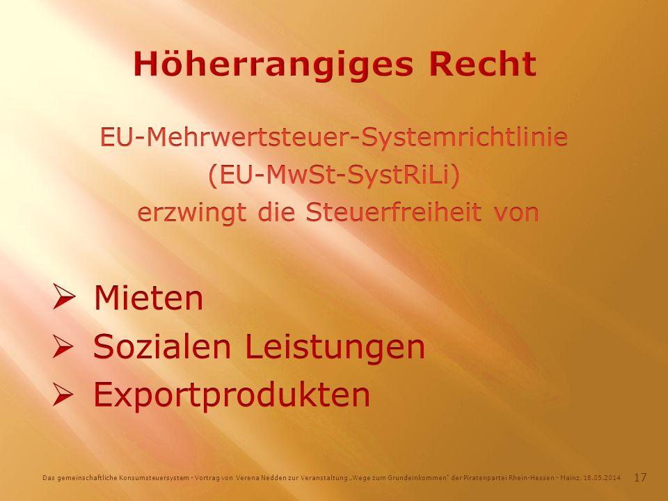Das gemeinschaftliche Konsumsteuersystem - Vortrag von Verena Nedden zur Veranstaltung Wege zum Grundeinkommen der Piratenpartei Rhein-Hessen - Mainz, 18.05.2014 17