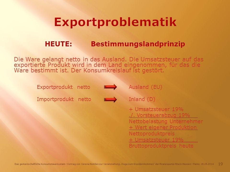 Das gemeinschaftliche Konsumsteuersystem - Vortrag von Verena Nedden zur Veranstaltung Wege zum Grundeinkommen der Piratenpartei Rhein-Hessen - Mainz, 18.05.2014 19
