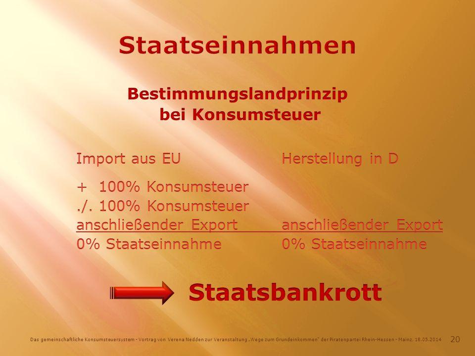 Das gemeinschaftliche Konsumsteuersystem - Vortrag von Verena Nedden zur Veranstaltung Wege zum Grundeinkommen der Piratenpartei Rhein-Hessen - Mainz, 18.05.2014 20