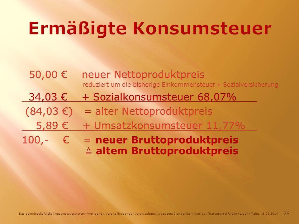 Das gemeinschaftliche Konsumsteuersystem - Vortrag von Verena Nedden zur Veranstaltung Wege zum Grundeinkommen der Piratenpartei Rhein-Hessen - Mainz, 18.05.2014 28