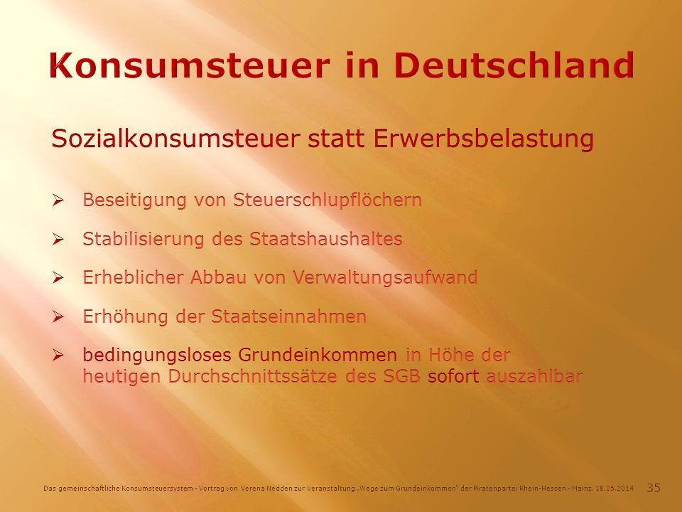 Das gemeinschaftliche Konsumsteuersystem - Vortrag von Verena Nedden zur Veranstaltung Wege zum Grundeinkommen der Piratenpartei Rhein-Hessen - Mainz, 18.05.2014 35