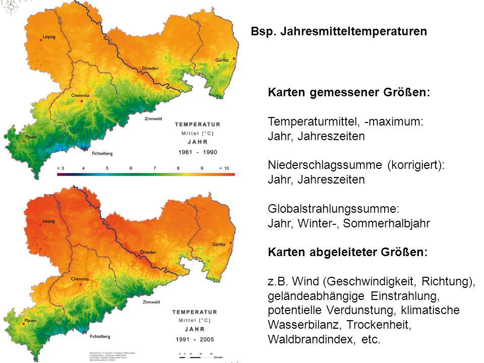 Karten gemessener Größen: Temperaturmittel, -maximum: Jahr, Jahreszeiten Niederschlagssumme (korrigiert): Jahr, Jahreszeiten Globalstrahlungssumme: Ja