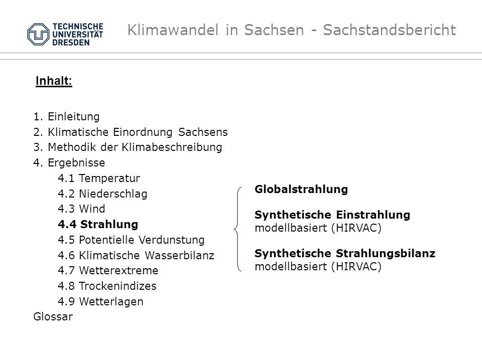 Klimawandel in Sachsen - Sachstandsbericht Globalstrahlung Synthetische Einstrahlung modellbasiert (HIRVAC) Synthetische Strahlungsbilanz modellbasier