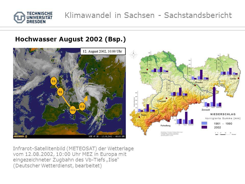 Klimawandel in Sachsen - Sachstandsbericht Hochwasser August 2002 (Bsp.) Infrarot-Satellitenbild (METEOSAT) der Wetterlage vom 12.08.2002, 10:00 Uhr M