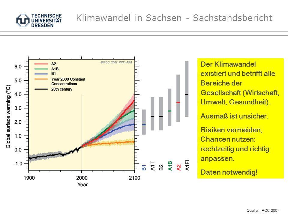 Klimawandel in Sachsen - Sachstandsbericht Quelle: IPCC 2007 Der Klimawandel existiert und betrifft alle Bereiche der Gesellschaft (Wirtschaft, Umwelt