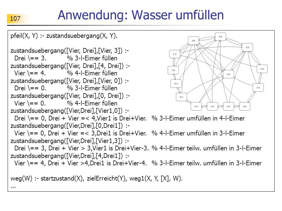 107 Anwendung: Wasser umfüllen pfeil(X, Y) :- zustandsuebergang(X, Y). zustandsuebergang([Vier, Drei],[Vier, 3]) :- Drei \== 3. % 3-l-Eimer füllen zus