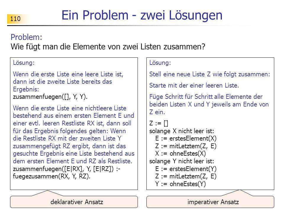 110 Ein Problem - zwei Lösungen Problem: Wie fügt man die Elemente von zwei Listen zusammen? Lösung: Wenn die erste Liste eine leere Liste ist, dann i