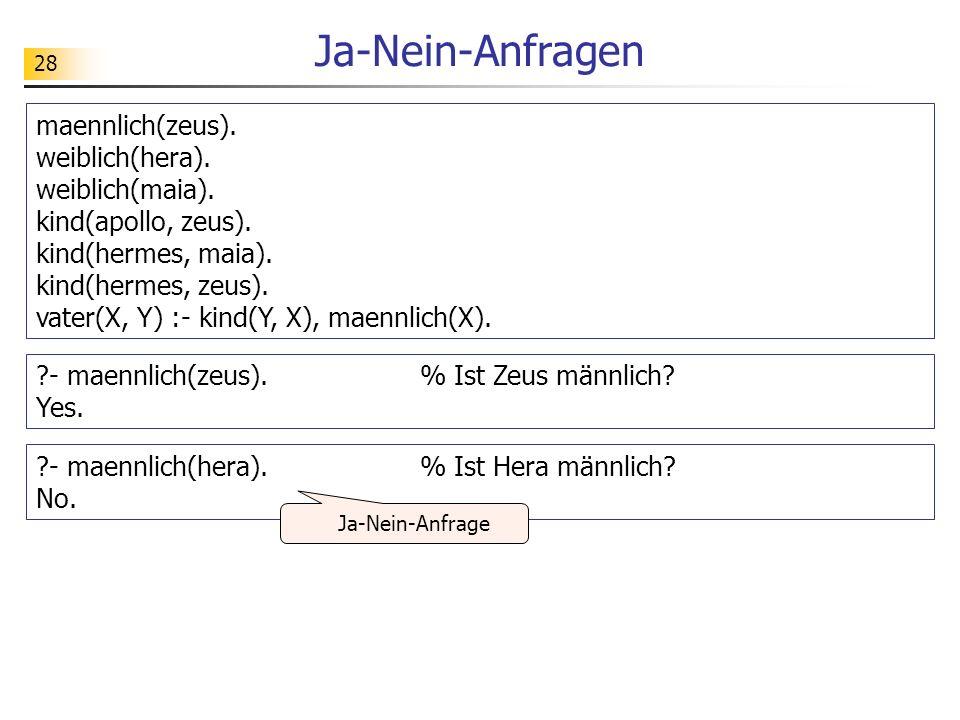 28 Ja-Nein-Anfragen maennlich(zeus). weiblich(hera). weiblich(maia). kind(apollo, zeus). kind(hermes, maia). kind(hermes, zeus). vater(X, Y) :- kind(Y