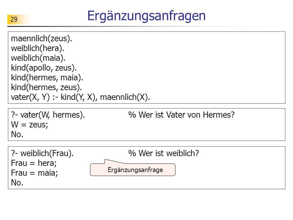 29 Ergänzungsanfragen maennlich(zeus). weiblich(hera). weiblich(maia). kind(apollo, zeus). kind(hermes, maia). kind(hermes, zeus). vater(X, Y) :- kind
