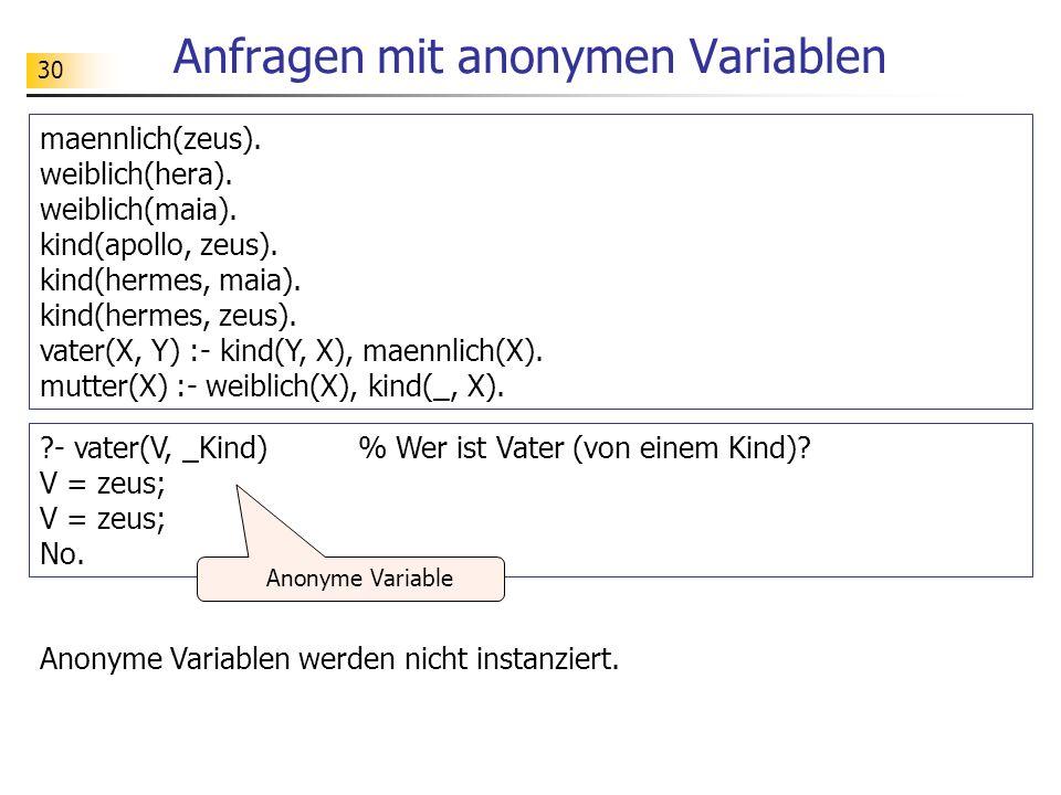 30 Anfragen mit anonymen Variablen maennlich(zeus). weiblich(hera). weiblich(maia). kind(apollo, zeus). kind(hermes, maia). kind(hermes, zeus). vater(