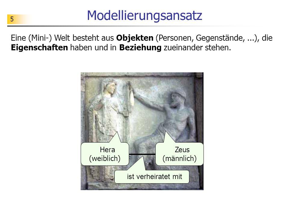 5 Modellierungsansatz Eine (Mini-) Welt besteht aus Objekten (Personen, Gegenstände,...), die Eigenschaften haben und in Beziehung zueinander stehen.