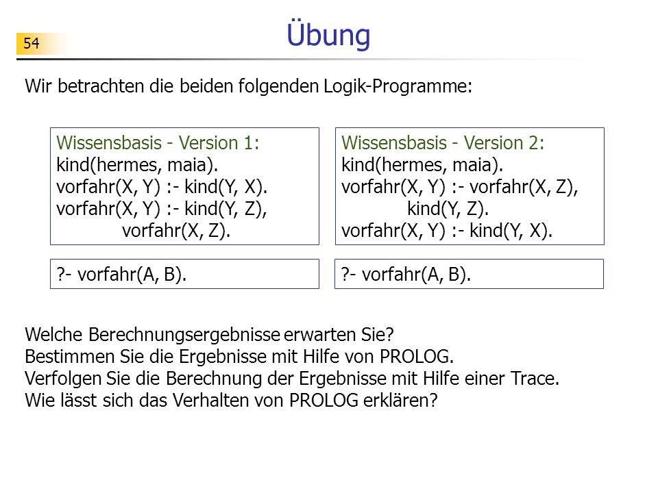 54 Übung Wir betrachten die beiden folgenden Logik-Programme: Welche Berechnungsergebnisse erwarten Sie? Bestimmen Sie die Ergebnisse mit Hilfe von PR