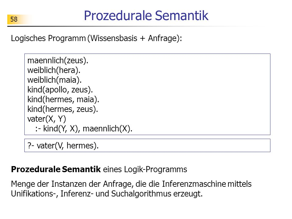 58 Prozedurale Semantik maennlich(zeus). weiblich(hera). weiblich(maia). kind(apollo, zeus). kind(hermes, maia). kind(hermes, zeus). vater(X, Y) :- ki