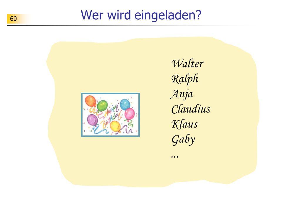 60 Wer wird eingeladen? Walter Ralph Anja Claudius Klaus Gaby...