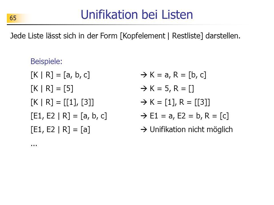 65 Beispiele: [K | R] = [a, b, c] K = a, R = [b, c] [K | R] = [5] K = 5, R = [] [K | R] = [[1], [3]] K = [1], R = [[3]] [E1, E2 | R] = [a, b, c] E1 =