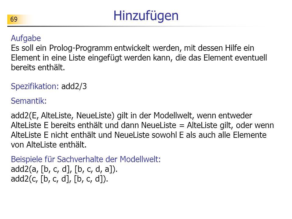 69 Aufgabe Es soll ein Prolog-Programm entwickelt werden, mit dessen Hilfe ein Element in eine Liste eingefügt werden kann, die das Element eventuell