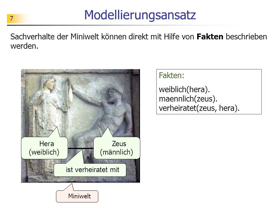 7 Modellierungsansatz Sachverhalte der Miniwelt können direkt mit Hilfe von Fakten beschrieben werden. Fakten: weiblich(hera). maennlich(zeus). verhei