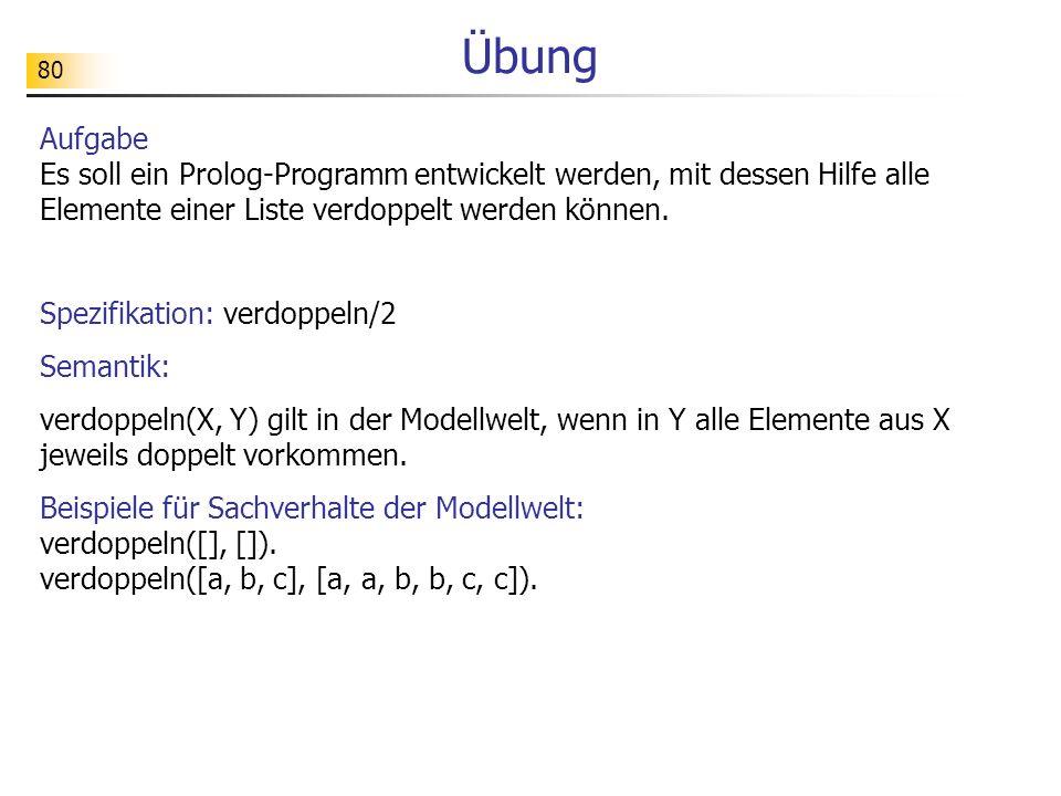 80 Übung Aufgabe Es soll ein Prolog-Programm entwickelt werden, mit dessen Hilfe alle Elemente einer Liste verdoppelt werden können. Spezifikation: ve