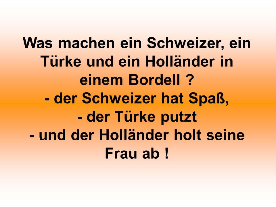 Was machen ein Schweizer, ein Türke und ein Holländer in einem Bordell ? - der Schweizer hat Spaß, - der Türke putzt - und der Holländer holt seine Fr
