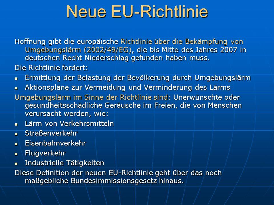 Neue EU-Richtlinie Hoffnung gibt die europäische Richtlinie über die Bekämpfung von Umgebungslärm (2002/49/EG), die bis Mitte des Jahres 2007 in deuts