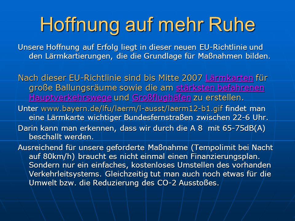 Hoffnung auf mehr Ruhe Unsere Hoffnung auf Erfolg liegt in dieser neuen EU-Richtlinie und den Lärmkartierungen, die die Grundlage für Maßnahmen bilden