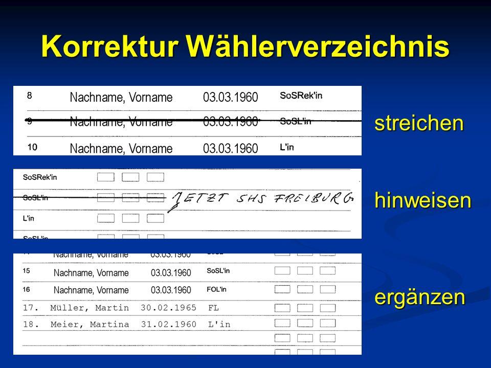 Korrektur Wählerverzeichnis streichen hinweisen ergänzen