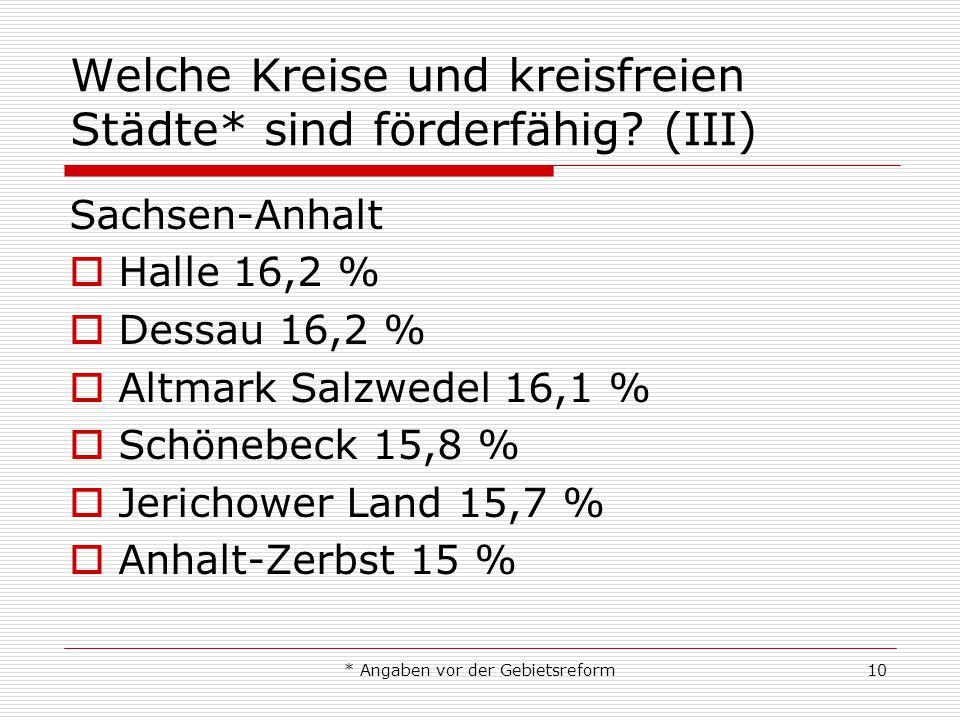 * Angaben vor der Gebietsreform10 Welche Kreise und kreisfreien Städte* sind förderfähig? (III) Sachsen-Anhalt Halle 16,2 % Dessau 16,2 % Altmark Salz