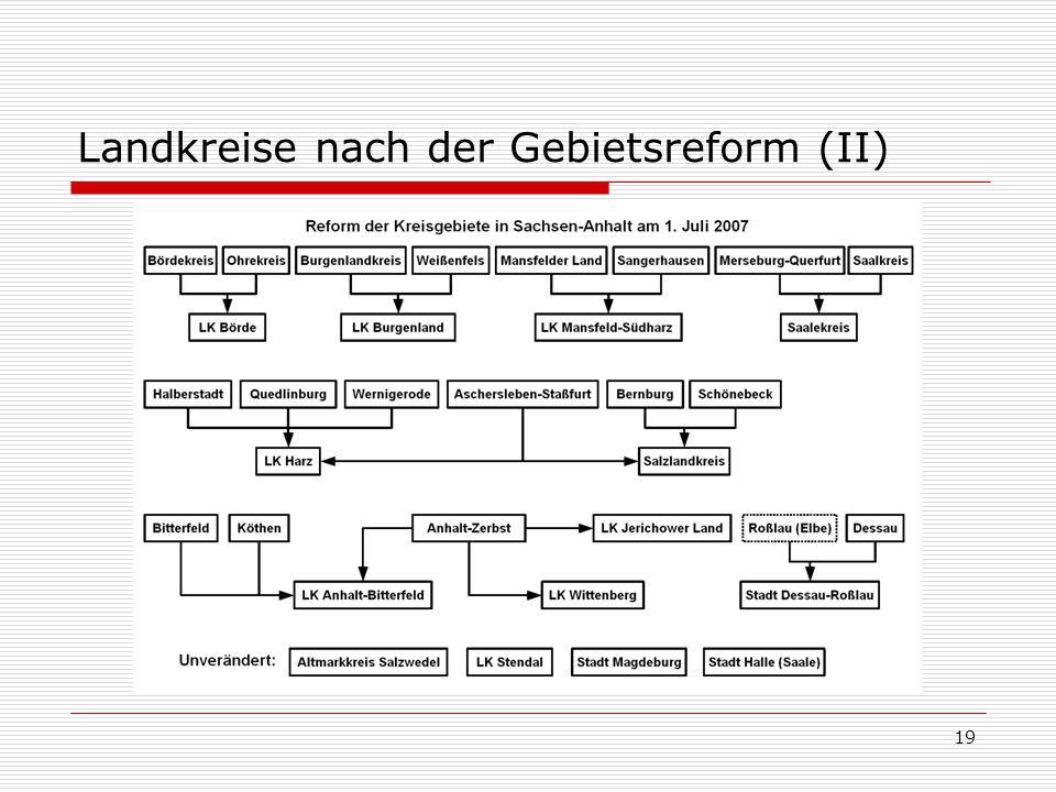 19 Landkreise nach der Gebietsreform (II)